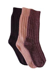 Ladies Wool Socks Pink Aubergine Plum