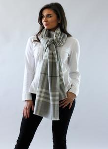 Tartan Blanket Scarf Light Grey