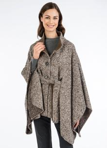 Maggi Wool Cape Peppered Brown