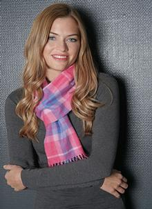 Merino Wool Scarf Pink Check