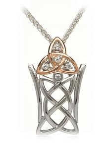 Silver & Rose Trinity Pendant with Cubic Zirconia