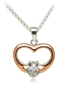 Silver & Rose Gold Plated Heart Shaped Claddagh with Cubic Zirconia