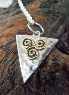 Banshee Silver Spiral Triangle Pendant