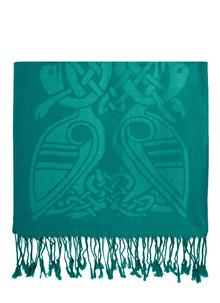 100% Pure New Wool Dynasty Green Celtic Scarf