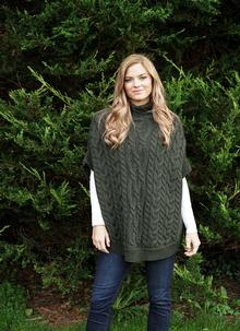Roisin Turtle Neck Aran Cape