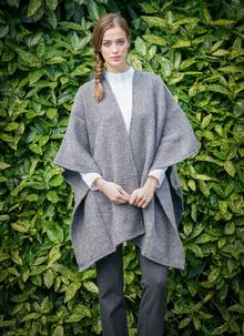 Ruana Cape Light Grey Herringbone