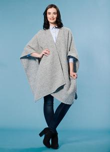 Ruana Cape Grey Cream Herringbone
