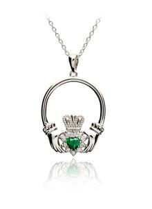 Silver Claddagh Stone Set Pendant