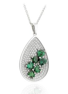 Sterling Silver & Cubic Zirconia Shamrock Large Oval Pendant