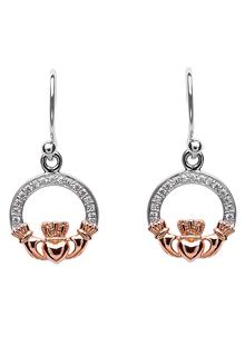 Rose Gold Plated Claddagh Earrings