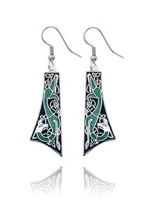 Celtic Enamel Drop Earrings