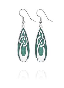Celtic Knot Green Enamel Earrings