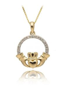 10Ct Yellow Gold Diamond Set Claddagh Pendant