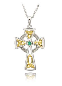 Silver Celtic Trinity Diamond And Emerald Cross
