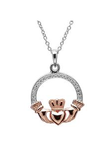 Rose Gold Plated Claddagh Pendant