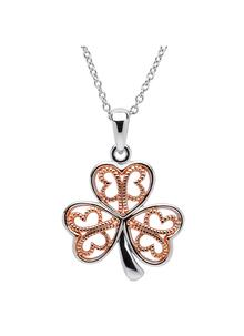 Celtic Rose Gold Plated Shamrock Pendant
