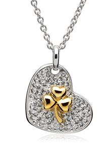 Gold Plated Shamrock Heart Pendant Adorned With Swarovski Crystals
