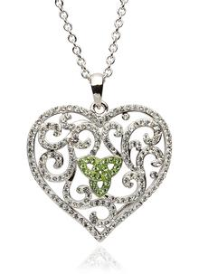 Green Trinity Knot Heart Pendant Adorned With Swarovski Crystals