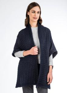 Sandra Navy Honeycomb Cape