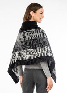 Shawl Collar Cape Multi Grey