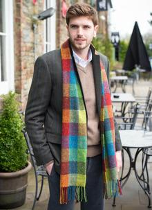 Men's Donegal Tweed Scarf With Cashmere