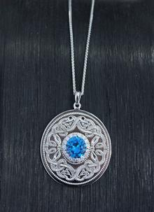 Sterling Silver Swiss Blue Large Celtic Warrior Pendant