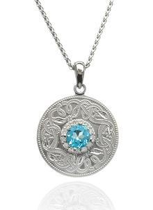 Sterling Silver Swiss Blue Small Celtic Warrior Pendant