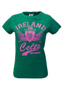 Ladies Green And Pink Celtic T-Shirt