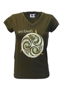 Ladies Khaki Celtic V-Neck T-Shirt