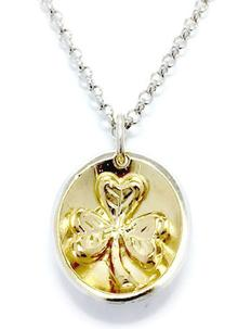 Sterling Silver and 18ct Gold Vermeil Treasured Shamrock Pendant