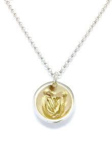 Sterling Silver and 18ct Gold Vermeil Treasured Harp Pendant