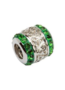 Trinity Bead Adorned With Green Swarovski Crystals