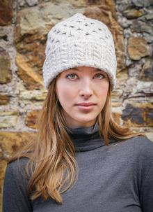 Wool Cashmere Cable Hat Beige