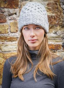 Wool Cashmere Cable Hat Grey