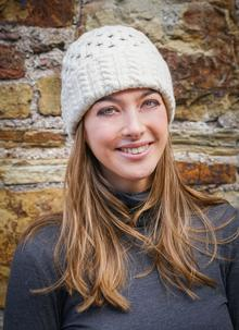 Wool Cashmere Cable Hat Natural