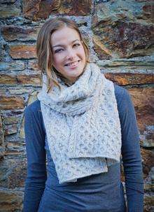 Wool Cashmere Cable Scarf Beige