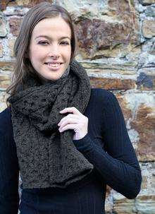 Wool Cashmere Cable Scarf Charcoal