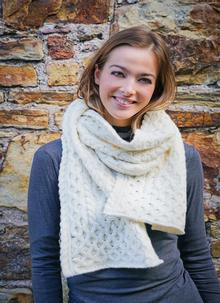 Wool Cashmere Cable Scarf Natural