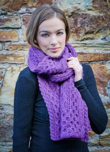 Wool Cashmere Cable Scarf Purple