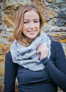 Wool Cashmere Infinity Scarf Purple Multi
