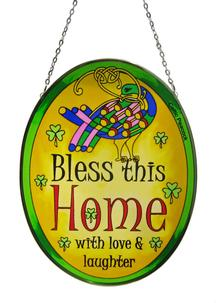 Bless This House Oval Stained Glass Suncatcher