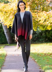 Grey Woven Fringed Cape