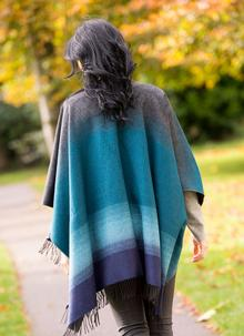 Turquoise Woven Fringed Cape