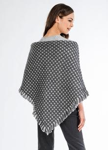 Grey Cream Triangle Honeycomb Shawl