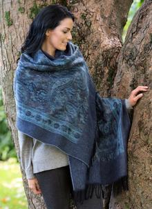 Blue Paisley Jacquard Woven Scarf
