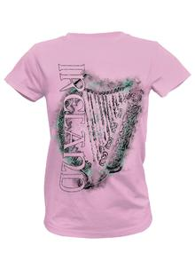 Ladies Ireland Harp Pink Round Neck T-Shirt