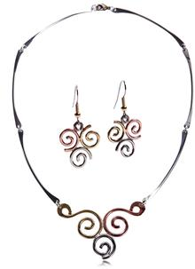 Triple Spiral Necklace and Earrings Set