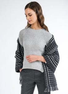 Multi Grey Honeycomb Stitch Shawl