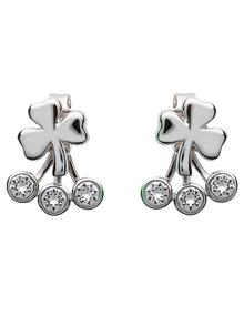 Shamrock Front To Back Earrings Adorned With Swarovski Crystals