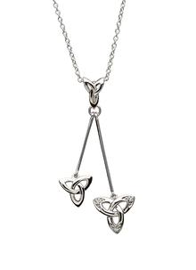 Sterling Silver Trinity Knot Stone Set Drop Necklet